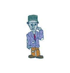 Frankenstein monster standing cartoon vector