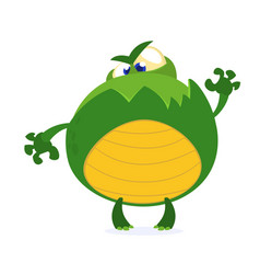 green monster frog waving kids cartoon vector image