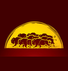 group of buffalo running graphic vector image vector image