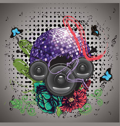 Grunge purple disco ball vector
