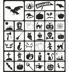 Halloween icons black vector image
