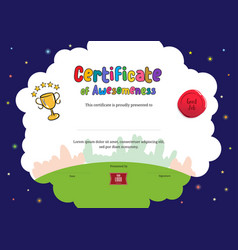 Kids diploma or certificate of awesomeness vector