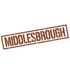Middlesbrough brown square stamp vector