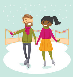 multiracial couple skating on ice rink outdoors vector image vector image