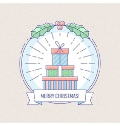 New Year and Christmas badge with gift boxes vector image