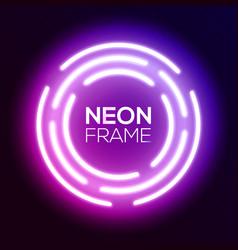 purple gradient neon light frame techno circles vector image vector image