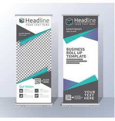 Roll up banner template design vector