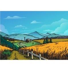 Rural landscape in graphical style Hand drawn and vector image vector image