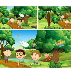 Scenes with children catching bugs in garden vector