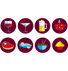 set of food and drink icons vector image vector image