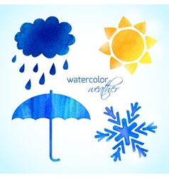 Set of watercolor weather icons vector