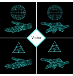 Set triangle pyramid and Ball on the arm The hand vector image