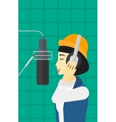 Singer making record vector image