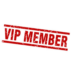 Square grunge red vip member stamp vector