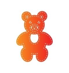 Teddy bear sign orange applique vector