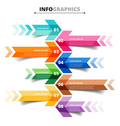 Template infographic arrows 8 options steps vector