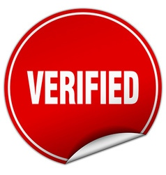 Verified round red sticker isolated on white vector