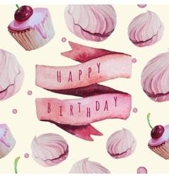 watercolor Happy birthday set Eps 10 vector image