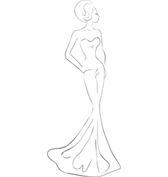 woman in evening maxi dress vector image