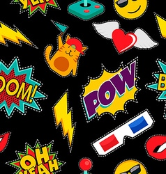 Stitching patches retro pop icons seamless pattern vector image