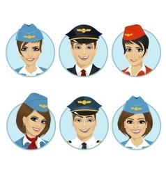 Air crew member avatars of pilots and stewardesses vector