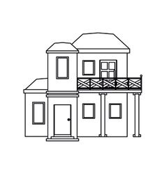 House with balcony roof garden outline vector