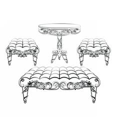 Furniture in classic rococo style ornament vector