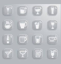 Glasses and cups simply icons vector