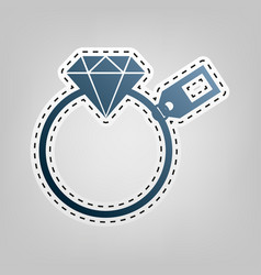Diamond sign with tag  blue icon with vector