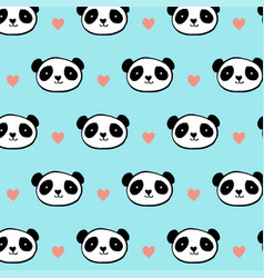 cute panda bear seamless pattern vector image