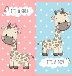 Giraffes boy and girl vector