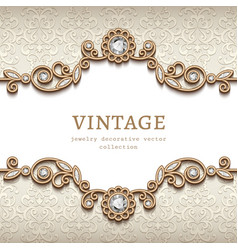 vintage jewellery card with flourish decoration vector image
