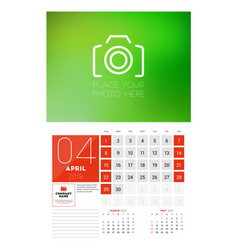Wall calendar template for 2018 year april design vector