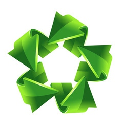 5 green recycling arrows for your design vector