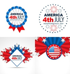 Set of american flag design badge vector
