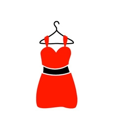 A red dress on a hanger vector