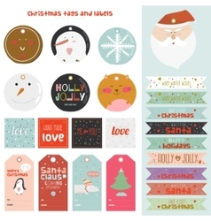 Vintage christmas and new year greeting stickers vector