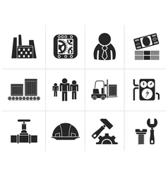 Silhouette Business factory and mill icons vector image