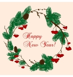 Christmas and New Year wreath with red berries vector image