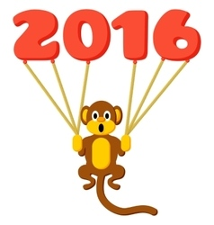 Monkey symbol of 2016 with balloons vector image