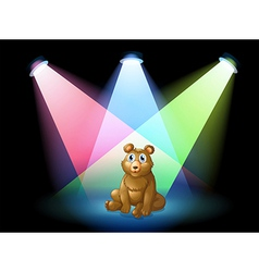 A bear sitting at the center of the stage with vector image vector image