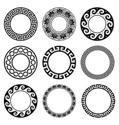 Ancient Greek round pattern - seamless set vector image