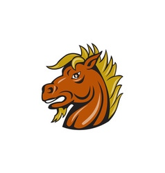 Angry Stallion Head Cartoon vector image vector image