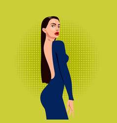 Beautiful woman in open dress from the back vector