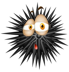Black thorny ball with sad face vector