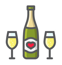 Bottle of champagne glasses filled outline icon vector