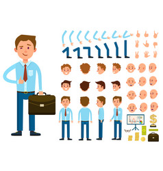 Businessman person character creation set vector