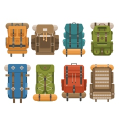 Camping backpack set vector