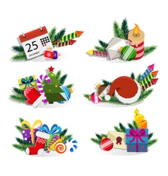 Christmas ornaments set vector image