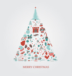christmas tree with hand drawn xmas elements vector image vector image